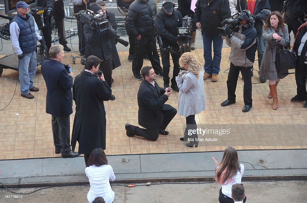 AMERICA - Brian Bondy suprised Melissa Cohn (now Melissa Bondy) with a marriage proposal and flash wedding live on 'Good Morning America,' 2/14/13, airing on the ABC Television Network. (ABC/Ida Mae Astute) SAM