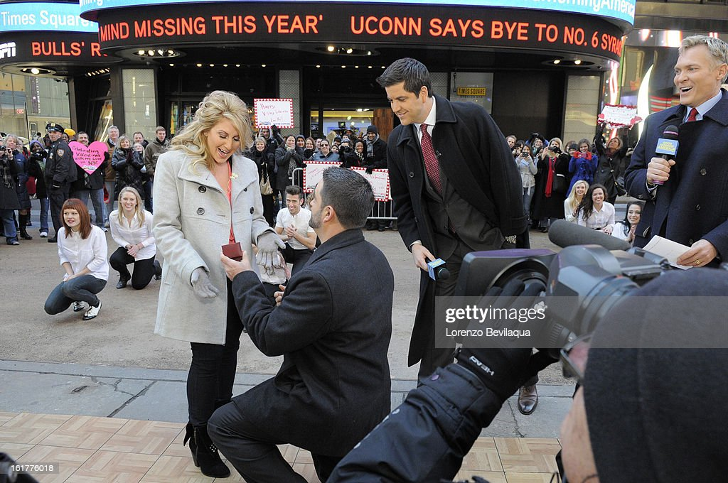 AMERICA - Brian Bondy suprised Melissa Cohn (now Melissa Bondy) with a marriage proposal and flash wedding live on 'Good Morning America,' 2/14/13, airing on the ABC Television Network. (Photo by Lorenzo Bevilaqua/ABC via Getty Images) MELISSA BONDY, BRIAN BONDY, JOSH ELLIOTT, SAM CHAMPION