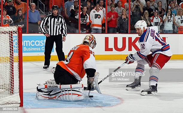Brian Boucher of the Philadelphia Flyers makes the game winning shootout save against Olli Jokinen of the New York Rangers on April 11 2010 at...