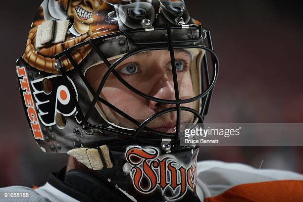 Brian Boucher of the Philadelphia Flyers pauses during warmups prior to his game against the Pittsburgh Penguins at the Wachovia Center on October 8...