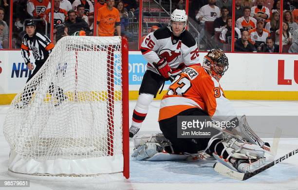 Brian Boucher of the Philadelphia Flyers surrenders a first period goal to Ilya Kovalchuk of the New Jersey Devils as Patrik Elias looks on in Game...