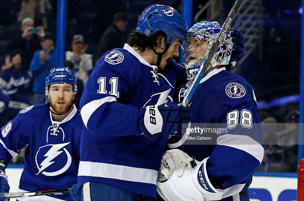 <a gi-track='captionPersonalityLinkClicked' href=/galleries/search?phrase=Brian+Boyle+-+Hockey+sur+glace&family=editorial&specificpeople=8986264 ng-click='$event.stopPropagation()'>Brian Boyle</a> #11 celebrates a win with goalie <a gi-track='captionPersonalityLinkClicked' href=/galleries/search?phrase=Andrei+Vasilevskiy+-+Joueur+de+hockey+sur+glace&family=editorial&specificpeople=9594320 ng-click='$event.stopPropagation()'>Andrei Vasilevskiy</a> #88 of the Tampa Bay Lightning against the Edmonton Oilers at the end of the third period at the Amalie Arena on January 19, 2016 in Tampa, Florida.
