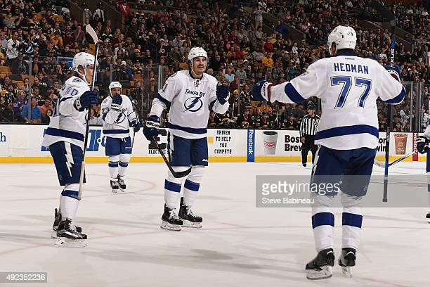 Brian Boyle of Tampa Bay Lightning celebrates a goal against the Boston Bruins at the TD Garden on October 12 2015 in Boston Massachusetts