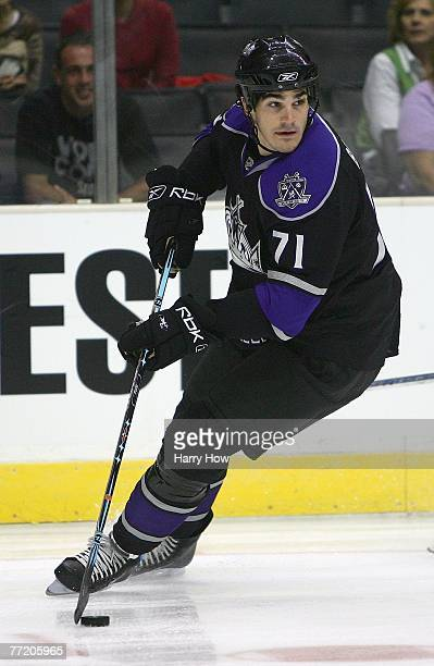 Brian Boyle of the Los Angeles Kings skates against the San Jose Sharks during NHL preseason game action at the Staples Center on September 18 2007...