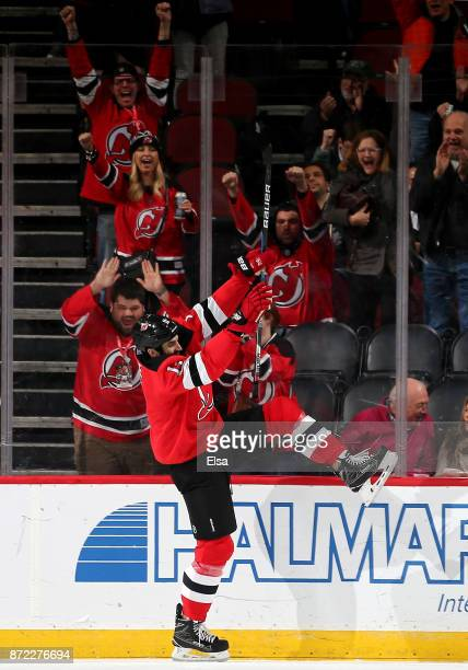 Brian Boyle of the New Jersey Devils celebrates his goal in the first period against the Edmonton Oilers on November 9 2017 at Prudential Center in...
