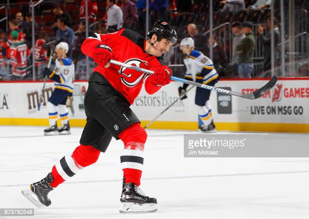 Brian Boyle of the New Jersey Devils warms up before a game against the St Louis Blues on November 7 2017 at Prudential Center in Newark New Jersey...
