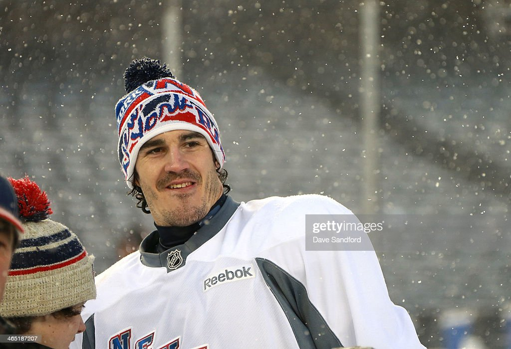 Brian Boyle #22 of the New York Rangers looks on during the 2014 NHL Stadium Series practice sessions and family skate at Yankee Stadium on January 25, 2014 in the Bronx borough of New York City.