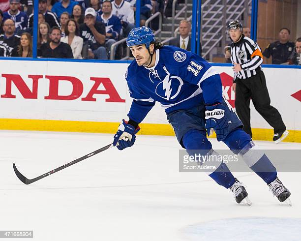 Brian Boyle of the Tampa Bay Lightning against the Detroit Red Wings during the third period of Game Five of the Eastern Conference Quarterfinals...