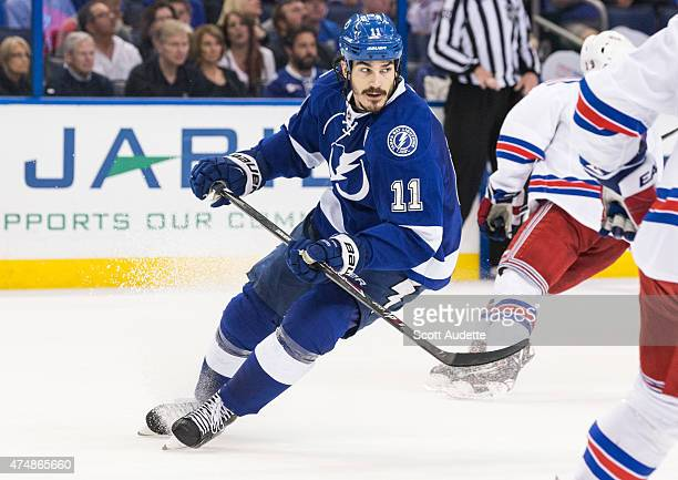 Brian Boyle of the Tampa Bay Lightning against the New York Rangers during the third period in Game Four of the Eastern Conference Final during the...