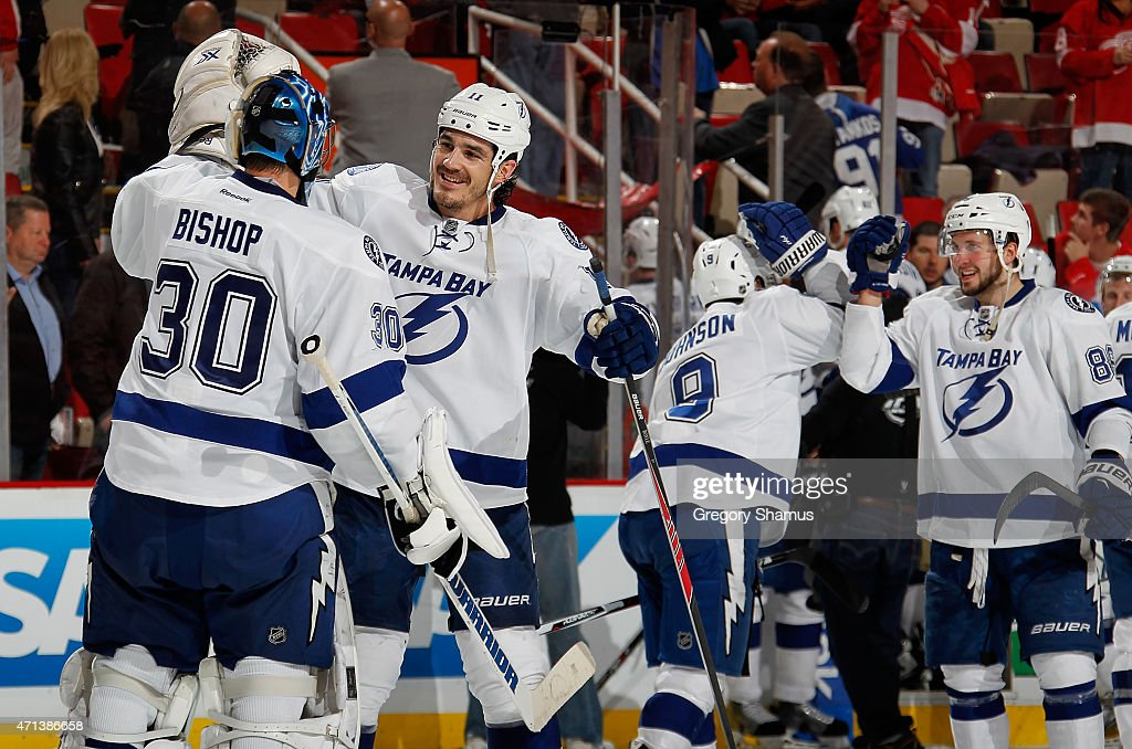 <a gi-track='captionPersonalityLinkClicked' href=/galleries/search?phrase=Brian+Boyle+-+Ice+Hockey+Player&family=editorial&specificpeople=8986264 ng-click='$event.stopPropagation()'>Brian Boyle</a> #11 of the Tampa Bay Lightning celebrates a 5-2 win over the Detroit Red Wings with <a gi-track='captionPersonalityLinkClicked' href=/galleries/search?phrase=Ben+Bishop&family=editorial&specificpeople=700137 ng-click='$event.stopPropagation()'>Ben Bishop</a> #30 in Game Six of the Eastern Conference Quarterfinals against the Detroit Red Wings during the 2015 NHL Stanley Cup Playoffs at Joe Louis Arena on April 27, 2015 in Detroit, Michigan.