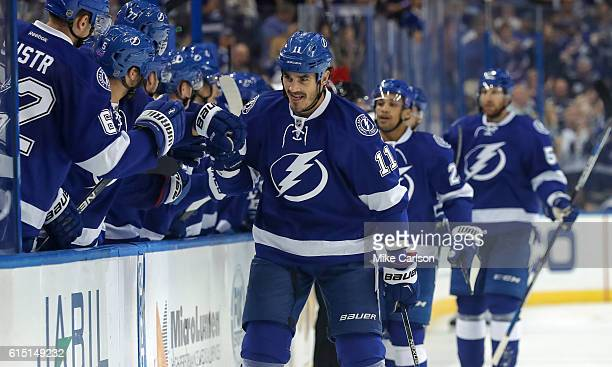 Brian Boyle of the Tampa Bay Lightning celebrates a goal against Detroit Red Wings during a game at the Amalie Arena on October 13 2016 in Tampa...