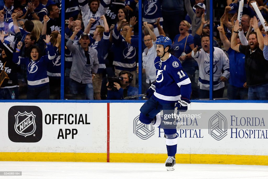 Brian Boyle #11 of the Tampa Bay Lightning celebrates after scoring his second goal against Matt Murray #30 of the Pittsburgh Penguins during the third period in Game Six of the Eastern Conference Final during the 2016 NHL Stanley Cup Playoffs at Amalie Arena on May 24, 2016 in Tampa, Florida.