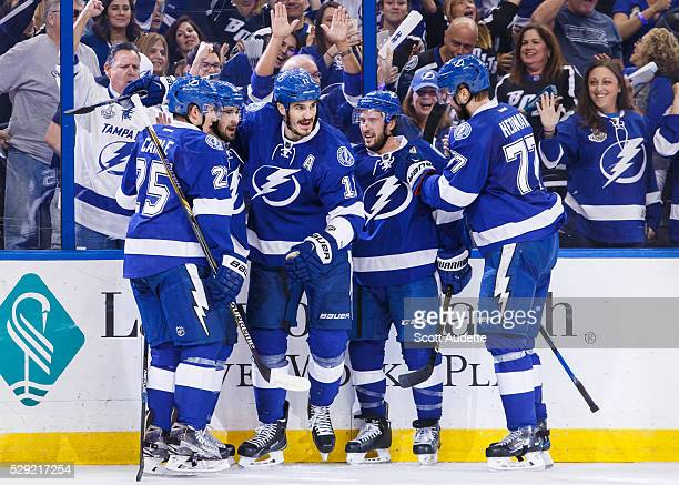 Brian Boyle of the Tampa Bay Lightning celebrates goal against the New York Islanders during the first period of Game Five of the Eastern Conference...
