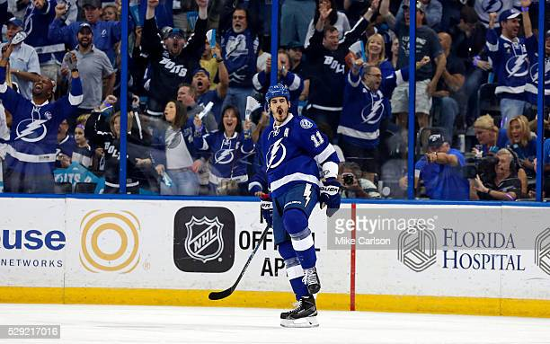 Brian Boyle of the Tampa Bay Lightning celebrates his goal against the New York Islanders during the first period of Game Five of the Eastern...