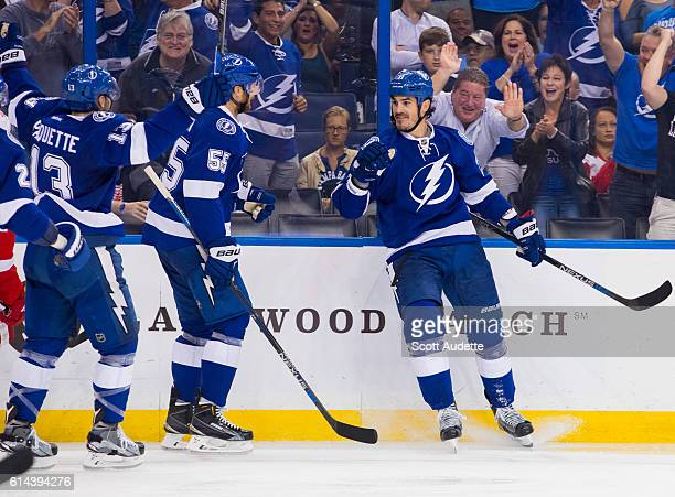 Brian Boyle of the Tampa Bay Lightning celebrates his goal against the Detroit Red Wings during the third period at Amalie Arena on October 13 2016...