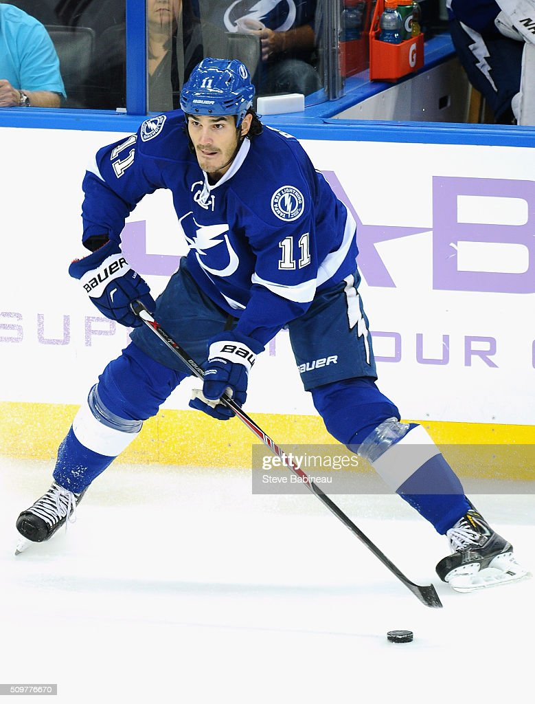 <a gi-track='captionPersonalityLinkClicked' href=/galleries/search?phrase=Brian+Boyle+-+Hockey+sur+glace&family=editorial&specificpeople=8986264 ng-click='$event.stopPropagation()'>Brian Boyle</a> #11 of the Tampa Bay Lightning plays in the game against the Arizona Coyotes at Amalie Arena on October 28, 2014 in Tampa, Florida.