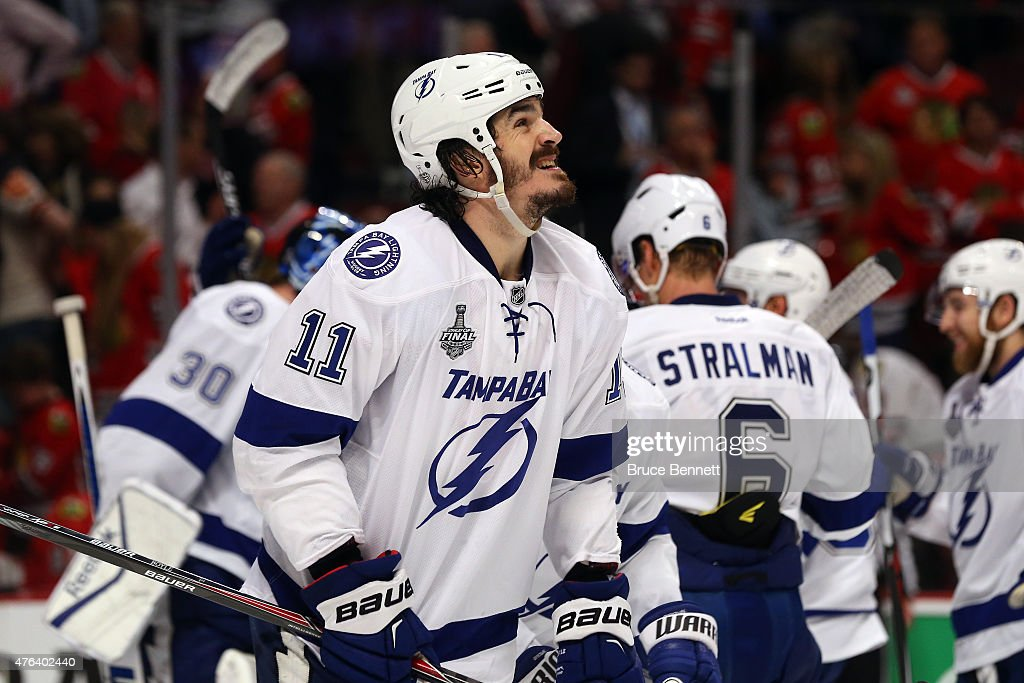 <a gi-track='captionPersonalityLinkClicked' href=/galleries/search?phrase=Brian+Boyle+-+Ice+Hockey+Player&family=editorial&specificpeople=8986264 ng-click='$event.stopPropagation()'>Brian Boyle</a> #11 of the Tampa Bay Lightning reacts after defeating the Chicago Blackhawks 3-2 in Game Three of the 2015 NHL Stanley Cup Final at the United Center on June 8, 2015 in Chicago, Illinois.