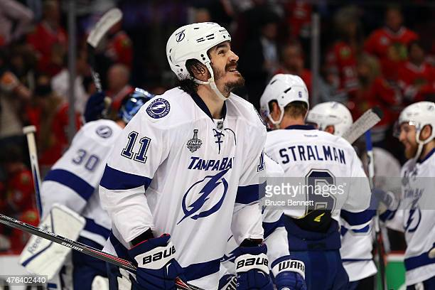 Brian Boyle of the Tampa Bay Lightning reacts after defeating the Chicago Blackhawks 32 in Game Three of the 2015 NHL Stanley Cup Final at the United...