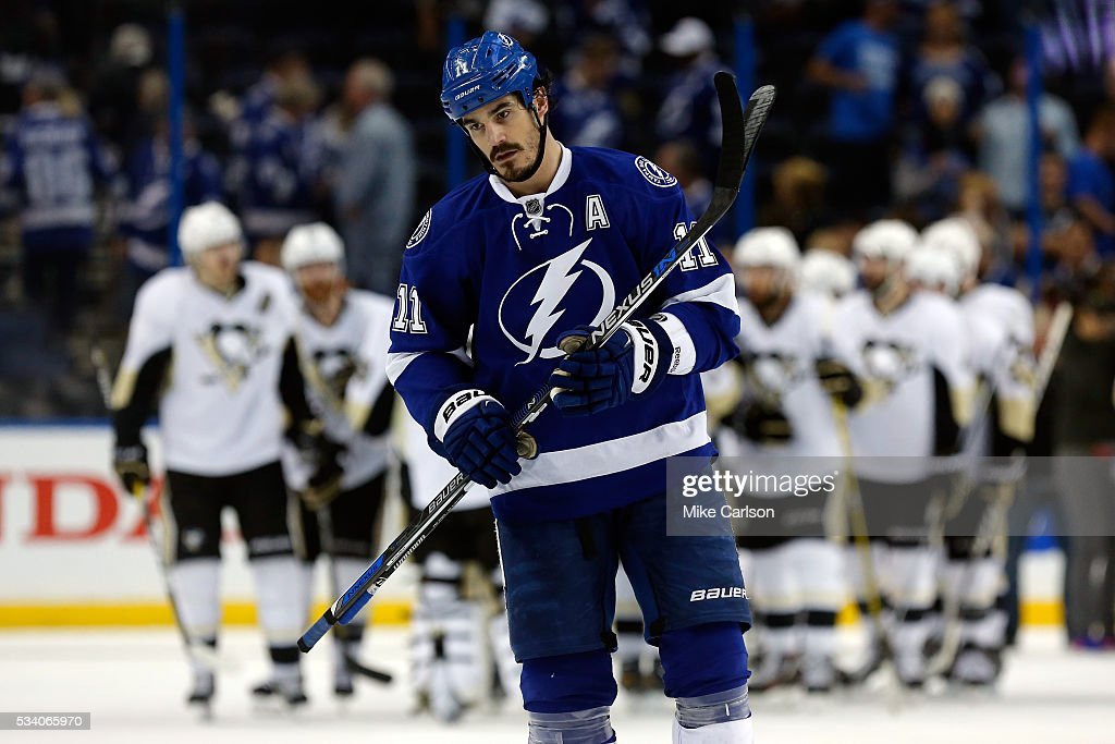 <a gi-track='captionPersonalityLinkClicked' href=/galleries/search?phrase=Brian+Boyle+-+Ice+Hockey+Player&family=editorial&specificpeople=8986264 ng-click='$event.stopPropagation()'>Brian Boyle</a> #11 of the Tampa Bay Lightning reacts after losing to the Pittsburgh Penguins in Game Six of the Eastern Conference Final with a score of 5 to 2 during the 2016 NHL Stanley Cup Playoffs at Amalie Arena on May 24, 2016 in Tampa, Florida.