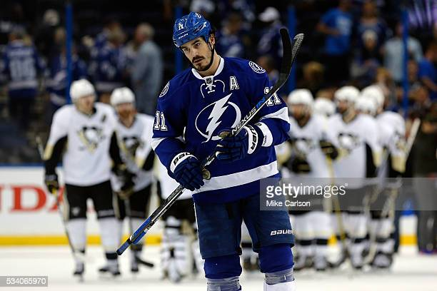 Brian Boyle of the Tampa Bay Lightning reacts after losing to the Pittsburgh Penguins in Game Six of the Eastern Conference Final with a score of 5...