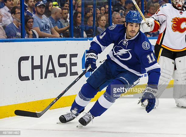 Brian Boyle of the Tampa Bay Lightning skates against the Calgary Flames during first period at the Amalie Arena on November 12 2015 in Tampa Florida