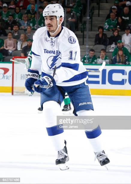 Brian Boyle of the Tampa Bay Lightning skates against the Dallas Stars at the American Airlines Center on February 18 2017 in Dallas Texas