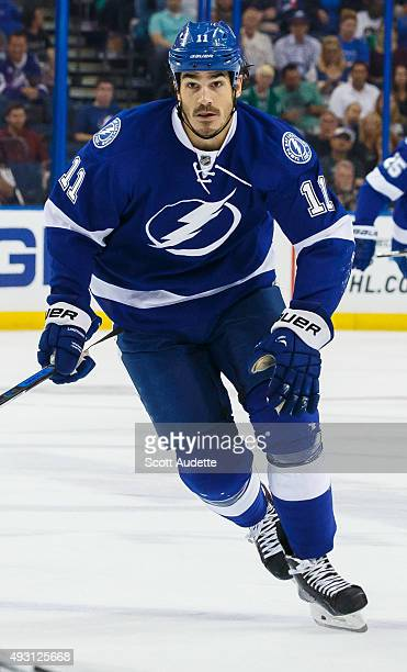 Brian Boyle of the Tampa Bay Lightning skates against the Dallas Stars during the first period at the Amalie Arena on October 15 2015 in Tampa Florida