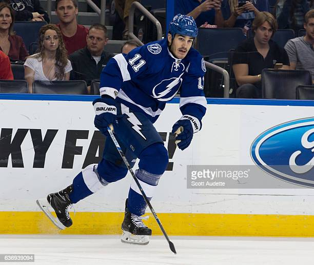Brian Boyle of the Tampa Bay Lightning skates against the Detroit Red Wings during the first period at Amalie Arena on December 20 2016 in Tampa...