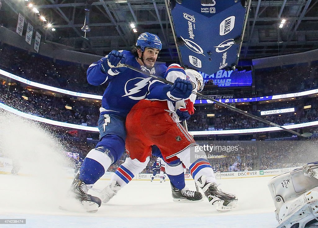 <a gi-track='captionPersonalityLinkClicked' href=/galleries/search?phrase=Brian+Boyle+-+Ice+Hockey+Player&family=editorial&specificpeople=8986264 ng-click='$event.stopPropagation()'>Brian Boyle</a> #11 of the Tampa Bay Lightning skates against the New York Rangers in Game Three of the Eastern Conference Finals during the 2015 NHL Stanley Cup Playoffs at Amalie Arena on May 22, 2015 in Tampa, Florida. The Lightning defeated the Rangers 6-5 in overtime.