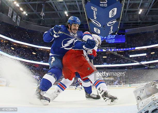 Brian Boyle of the Tampa Bay Lightning skates against the New York Rangers in Game Three of the Eastern Conference Finals during the 2015 NHL Stanley...