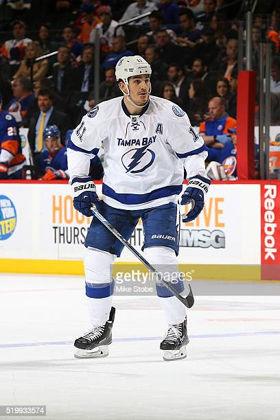 Brian Boyle of the Tampa Bay Lightning skates against the New York Islanders at the Barclays Center on April 4 2016 in Brooklyn borough of New York...