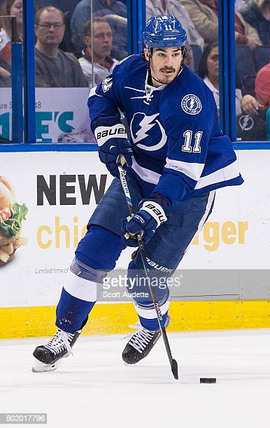 Brian Boyle of the Tampa Bay Lightning skates against the Ottawa Senators during first period at the Amalie Arena on December 10 2015 in Tampa Florida