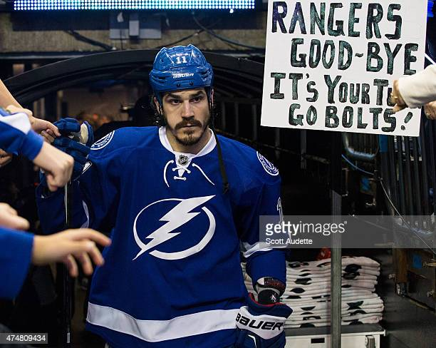 Brian Boyle of the Tampa Bay Lightning walks out to the ice for the pregame warm ups against the New York Rangers before Game Six of the Eastern...