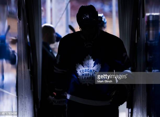 Brian Boyle of the Toronto Maple Leafs walks off the ice prior to playing the Washington Capitals in Game Four of the Eastern Conference First Round...