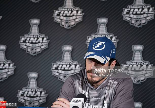 Brian Boyle of theTampa Bay Lightning speaks during a media availability at the 2015 NHL Stanley Cup Final at Amalie Arena on June 4 2015 in Tampa...