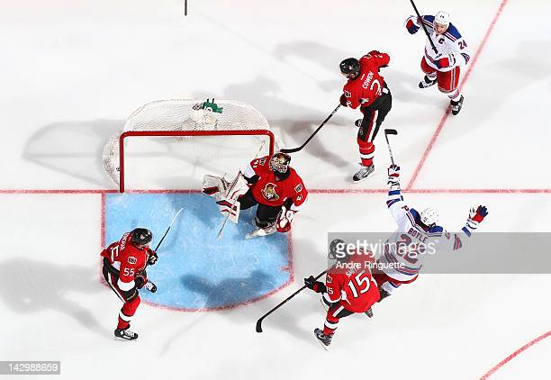 Brian Boyle or the New York Rangers celebrates his gamewinning goal against Craig Anderson Sergei Gonchar Zack Smith and Jared Cowen of the Ottawa...