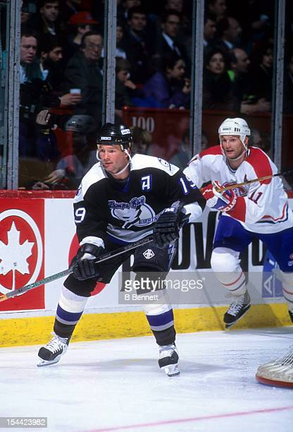 Brian Bradley of the Tampa Bay Lightning skates on the ice during an NHL game against the Montreal Canadiens on April 6 1994 at the Montreal Forum in...
