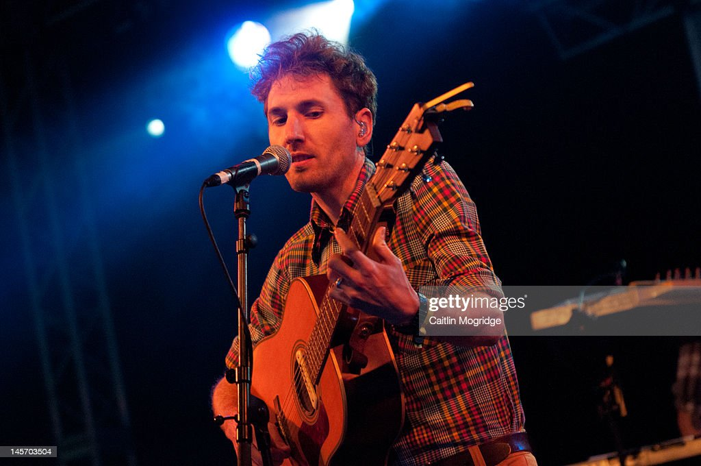 Brian Briggs of Stornoway performs on stage during Apple Cart Festival at Victoria Park on June 3, 2012 in London, United Kingdom.