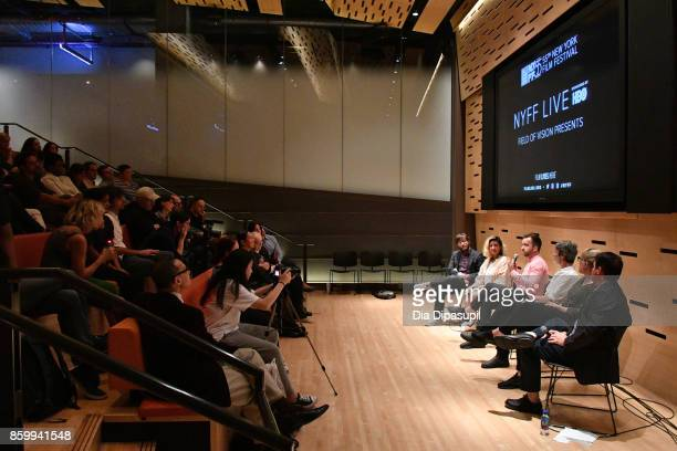 Brian Brooks Charlotte Cook Marshall Curry Josh Begley Farihah Zaman and Jeff Reichert speak onstage at NYFF Live Field of Vision Presents during the...