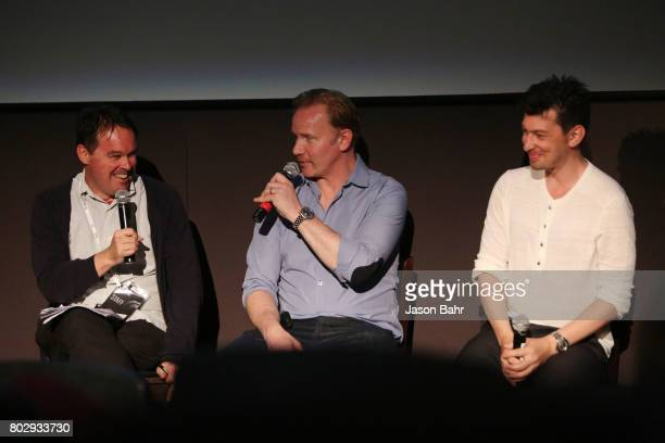 Brian Brooks Morgan Spurlock and Jeremy Chilnick share a laugh at the Warrior Poets panel discussion during SeriesFest Season 3 at Sie FilmCenter on...