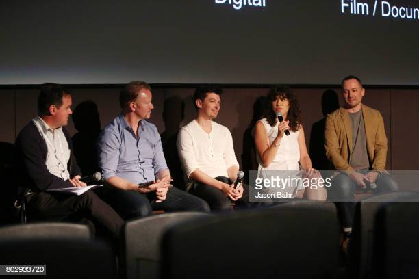 Brian Brooks Morgan Spurlock Jeremy Chilnick Rachel Traub and Eric Enright speak at the Warrior Poets panel discussion during SeriesFest Season 3 at...