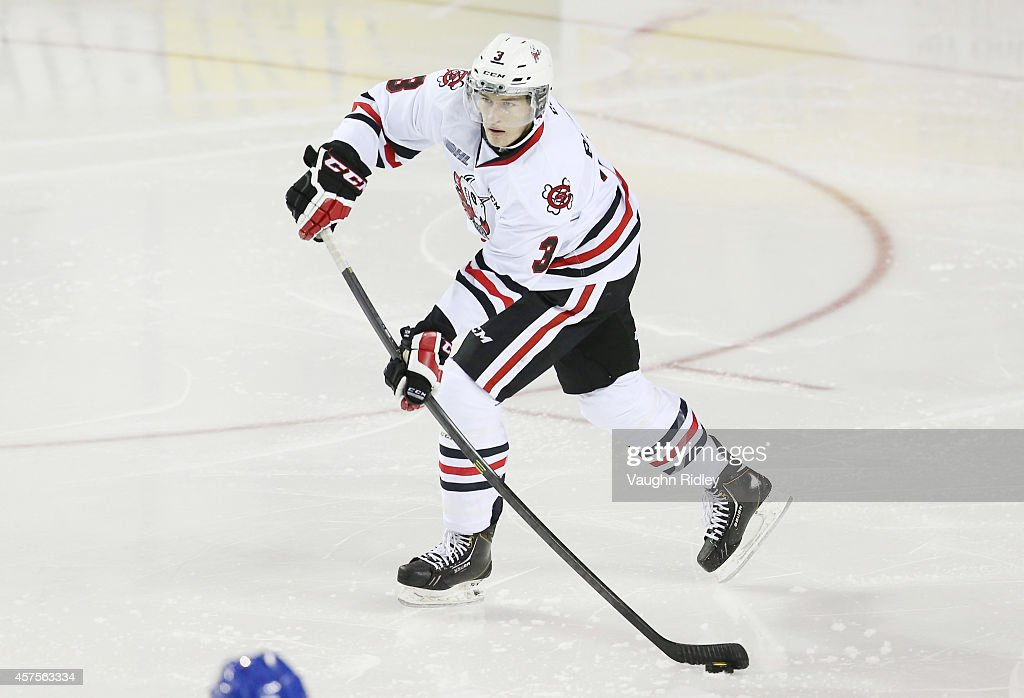 Brian Brosnan of the Niagara Ice Dogs makes a pass during an OHL game between the Sudbury Wolves and the Niagara Ice Dogs at the Meridian Centre on...