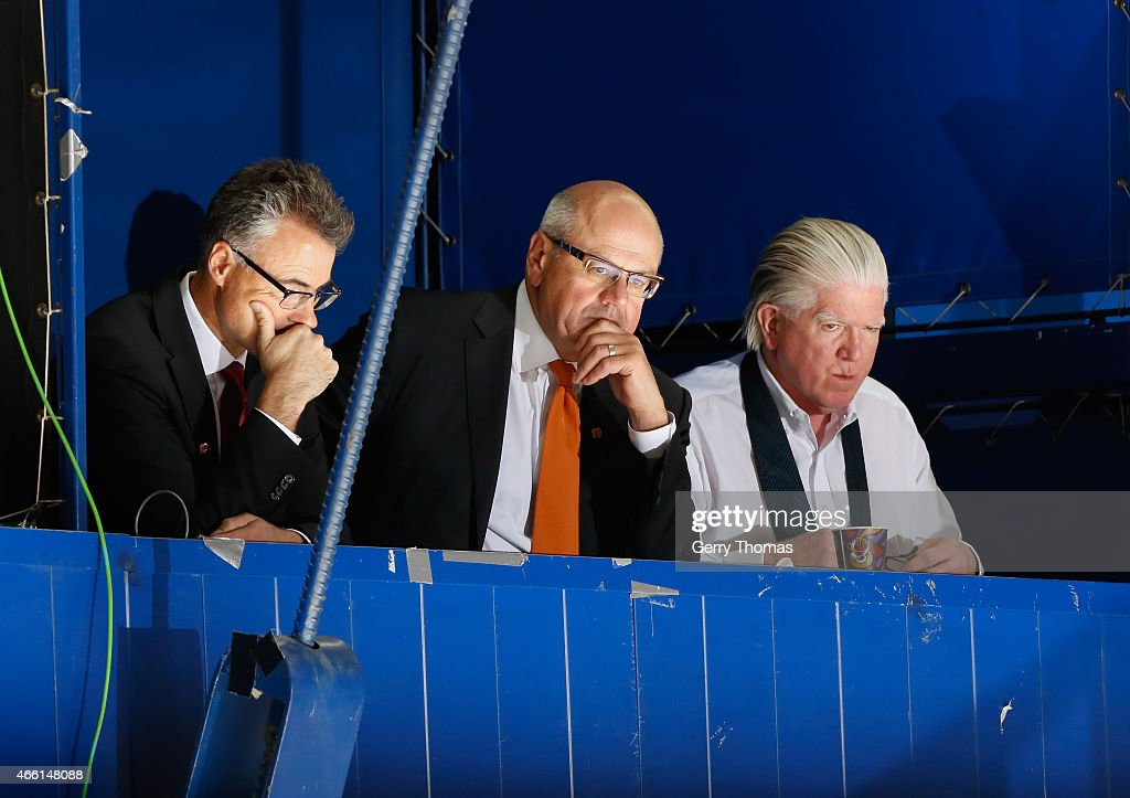 <a gi-track='captionPersonalityLinkClicked' href=/galleries/search?phrase=Brian+Burke&family=editorial&specificpeople=546491 ng-click='$event.stopPropagation()'>Brian Burke</a>, President of Hockey Operations, right, Ken King, President and CEO, centre, and John Bean, CFO, left, of the Calgary Flames watch on from the press box against the Toronto Maple Leafs at Scotiabank Saddledome on March 13, 2015 in Calgary, Alberta, Canada.