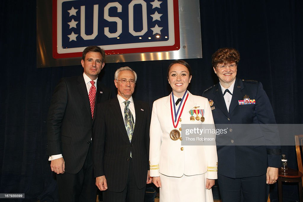Brian C. Whiting, president and CEO of USO of Metropolitan New York, colonel Jack H. Jacobs, United States Army (Ret.) and medal of honor recipient, lieutenant Janis Harrington, United States Navy, and medal of honor recipient, and General Janet C. Wolfenbarger, commander, Air Force Material Command and medal of honor recipient attend the USO Woman Of The Year Luncheon at The Pierre Hotel on May 2, 2013 in New York City.
