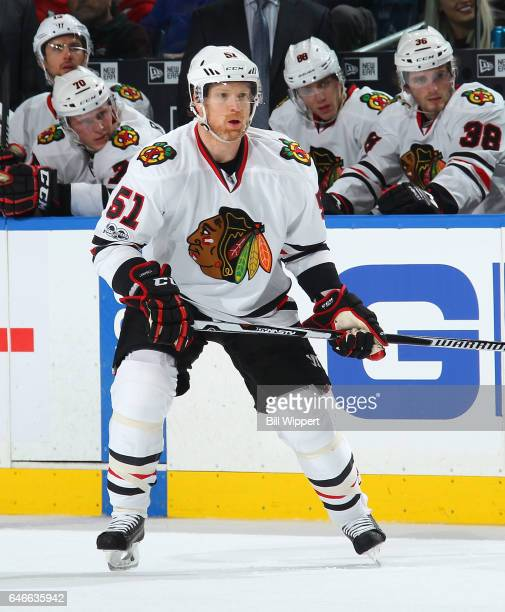 Brian Campbell of the Chicago Blackhawks skates against the Buffalo Sabres during an NHL game at the KeyBank Center on February 19 2017 in Buffalo...