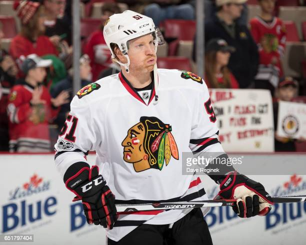 Brian Campbell of the Chicago Blackhawks skates during warmups prior to an NHL game against the Detroit Red Wings at Joe Louis Arena on March 10 2017...