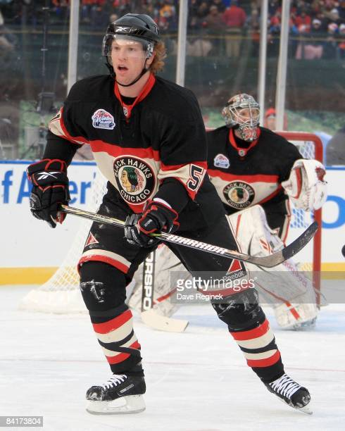Brian Campbell of the Chicago Blackhawks skates up ice during a NHL game against the Detroit Red Wings on January 1 2009 at Wrigley Field in Chicago...