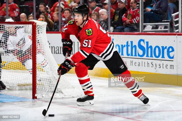 Brian Campbell of the Chicago Blackhawks takes control of the puck in the second period against the Columbus Blue Jackets at the United Center on...