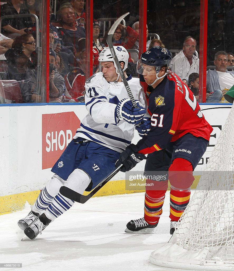 Brian Campbell #51 of the Florida Panthers and David Clarkson #71 of the Toronto Maple Leafs battle behind the net at the BB&T Center on February 4, 2014 in Sunrise, Florida.