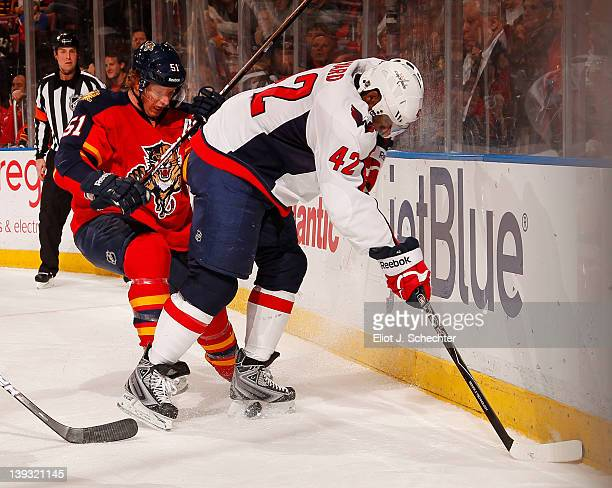 Brian Campbell of the Florida Panthers digs the puck out from the boards against Joel Ward of the Washington Capitals at the BankAtlantic Center on...